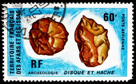 flint: AFARS AND ISSAS - CIRCA 1973: a stamp printed in Afars and Issas shows Pre-historic Flint Tool, Archeology, circa 1973