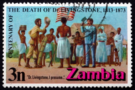 ZAMBIA - CIRCA 1973: a stamp printed in the Zambia shows Meeting of Stanley and Livingstone at Ujiji, Century of the Death of Dr. Livingstone, circa 1973