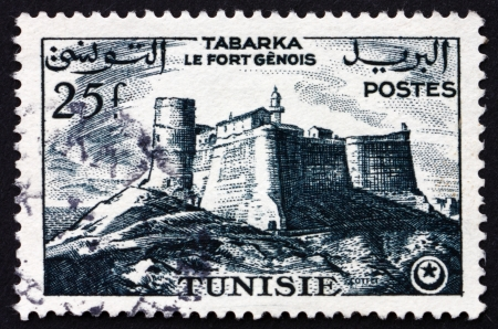 TUNISIA - CIRCA 1954: a stamp printed in Tunisia shows Genoese Fort, Tabarka, circa 1954
