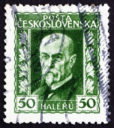 sociologist: CZECHOSLOVAKIA - CIRCA 1925: a stamp printed in the Czechoslovakia shows Tomas Garrigue Masaryk, Politician, Sociologist and Philosopher, first President of Czechoslovakia, circa 1925