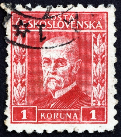 CZECHOSLOVAKIA - CIRCA 1925: a stamp printed in the Czechoslovakia shows Tomas Garrigue Masaryk, Politician, Sociologist and Philosopher, first President of Czechoslovakia, circa 1925 Stock Photo - 17464868
