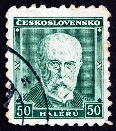 sociologist: CZECHOSLOVAKIA - CIRCA 1930: a stamp printed in the Czechoslovakia shows Tomas Garrigue Masaryk, Politician, Sociologist and Philosopher, first President of Czechoslovakia, circa 1930