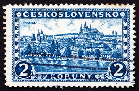 castle district: CZECHOSLOVAKIA - CIRCA 1926: a stamp printed in the Czechoslovakia shows Hradcany at Prague, Castle District, circa 1926