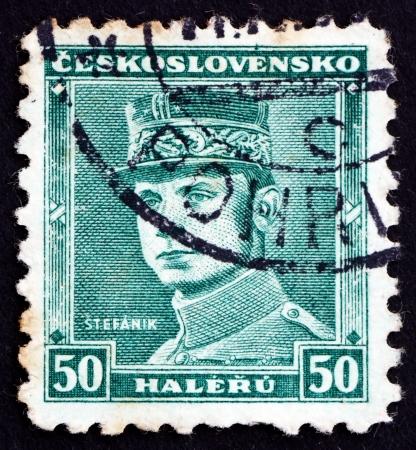 stefanik: CZECHOSLOVAKIA - CIRCA 1935: a stamp printed in the Czechoslovakia shows General Milan Stefanik, Slovak Politician, Diplomat and Astronomer, circa 1935