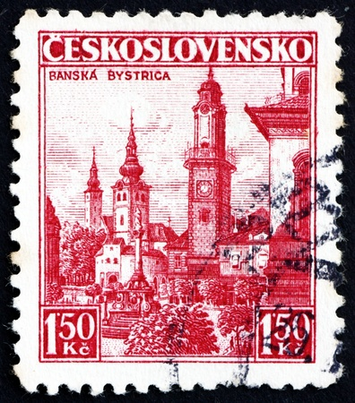 CZECHOSLOVAKIA - CIRCA 1936: a stamp printed in the Czechoslovakia shows Town of Banska Bystrica, circa 1936 Stock Photo - 17523401