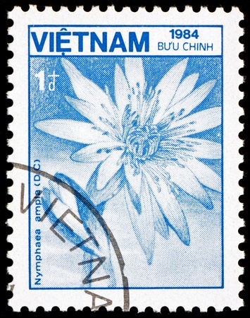 VIETNAM - CIRCA 1984: a stamp printed in Vietnam shows Lotus, Nymphaea Ampla, Flower, circa 1984 Stock Photo - 17523427