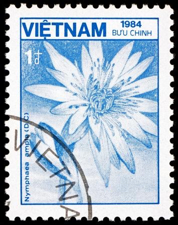 VIETNAM - CIRCA 1984: a stamp printed in Vietnam shows Lotus, Nymphaea Ampla, Flower, circa 1984 Stock Photo - 17523427