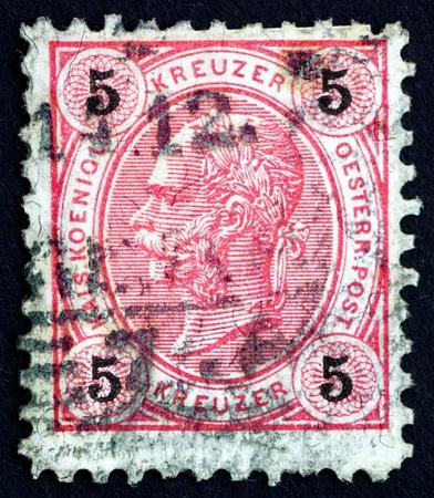franz josef: AUSTRIA - CIRCA 1890: un sello impreso en la muestra Austria Francisco Jos�, emperador de Austria, circa 1890