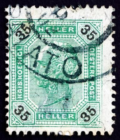 franz josef: AUSTRIA - CIRCA 1901: a stamp printed in the Austria shows Franz Josef, Emperor of Austria, circa 1901