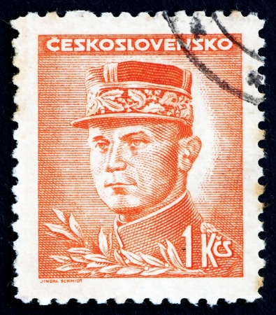 CZECHOSLOVAKIA - CIRCA 1947: a stamp printed in the Czechoslovakia shows General Milan Stefanik, Slovak Politician, Diplomat and Astronomer, circa 1947