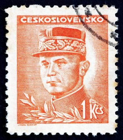 stefanik: CZECHOSLOVAKIA - CIRCA 1947: a stamp printed in the Czechoslovakia shows General Milan Stefanik, Slovak Politician, Diplomat and Astronomer, circa 1947