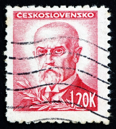 sociologist: CZECHOSLOVAKIA - CIRCA 1945: a stamp printed in the Czechoslovakia shows Tomas Garrigue Masaryk, Politician, Sociologist and Philosopher, first President of Czechoslovakia, circa 1945