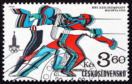 swordsmanship: CZECHOSLOVAKIA - CIRCA 1980: a stamp printed in the Czechoslovakia shows Fencing, 22nd Olympic Games, Moscow, circa 1980