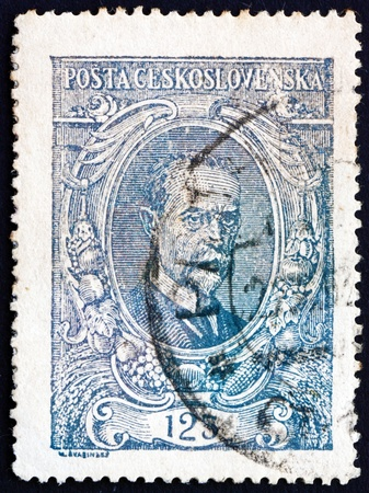 sociologist: CZECHOSLOVAKIA - CIRCA 1920: a stamp printed in the Czechoslovakia shows Tomas Garrigue Masaryk, Politician, Sociologist and Philosopher, first President of Czechoslovakia, circa 1920 Editorial