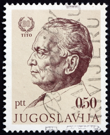 YUGOSLAVIA - CIRCA 1972: a stamp printed in the Yugoslavia shows Marshal Tito by Bozidar Jakac, Josip Broz Tito, 1st President of Yugoslavia, circa 1972 Stock Photo - 17808445
