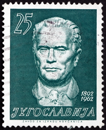 yugoslavia: YUGOSLAVIA - CIRCA 1962: a stamp printed in the Yugoslavia shows Marshal Tito by Augustincic, Josip Broz Tito, 1st President of Yugoslavia, circa 1962