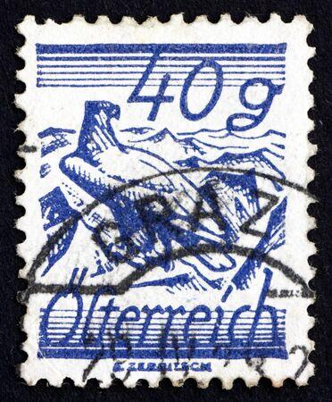shouldered: AUSTRIA - CIRCA 1925: a stamp printed in the Austria shows White-Shouldered Eagle, circa 1925