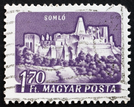 HUNGARY - CIRCA 1964: a stamp printed in the Hungary shows Castle of Somlo, Hungary, circa 1964 Stock Photo - 17950703