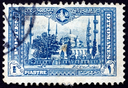 TURKEY - CIRCA 1914: a stamp printed in the Turkey shows Mosque of Sultan Ahmed, Blue Mosque, Istanbul, circa 1914