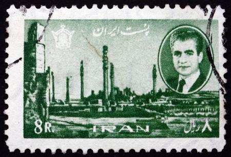 mohammad: IRAN - CIRCA 1966: a stamp printed in the Iran shows Mohammad Reza Shah Pahlavi, Shah of Persia and Ruins of Persepolis, circa 1966 Editorial