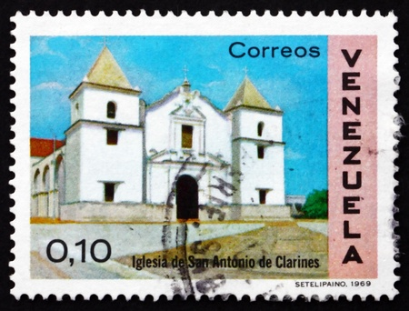 VENEZUELA - CIRCA 1970: a stamp printed in the Venezuela shows Church of St. Anthony, Clarines, circa 1970