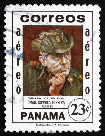 PANAMA - CIRCA 1982: a stamp printed in the Panama shows General Omar Torrijos Herrera, Maximum Leader of the Panamanian Revolution, Leader of Panama, circa 1982