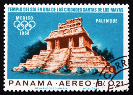 PANAMA - CIRCA 1967: a stamp printed in the Panama shows Indian Ruins at Palenque, Maya Culture, 1968 Summer Olympics, Mexico City, circa 1967