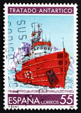 treaty: SPAIN - CIRCA 1991: a stamp printed in the Spain shows Research Ship, Antarctic Treaty, circa 1991