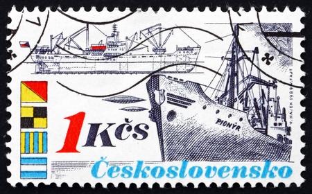 czechoslovakia: CZECHOSLOVAKIA - CIRCA 1989: a stamp printed in the Czechoslovakia shows Ship Pionyr, Shipping Industry, circa 1989 Editorial