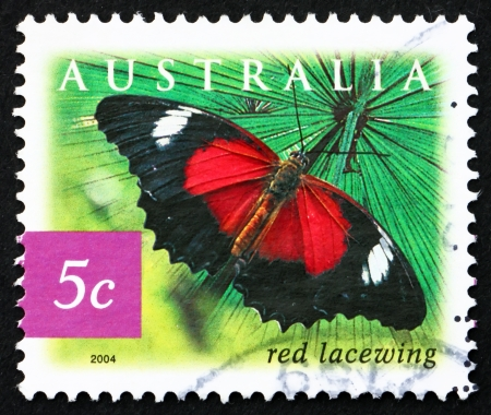 biblis: AUSTRALIA - CIRCA 2004: a stamp printed in the Australia shows Red Lacewing Butterfly, Cethosia Biblis, Insect, circa 2004