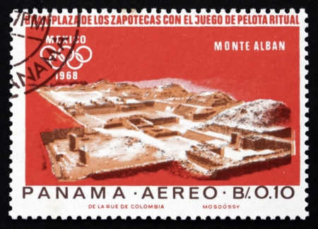 mesoamerica: PANAMA - CIRCA 1967: a stamp printed in the Panama shows Indian Ruins at Monte Alban, Zapotec Culture, 1968 Summer Olympics, Mexico City, circa 1967