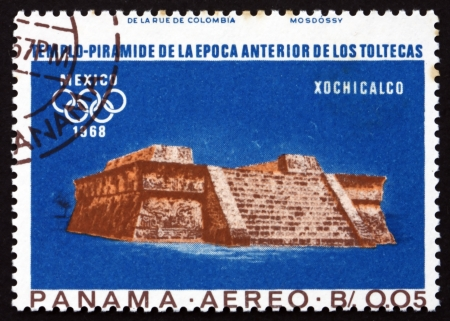 PANAMA - CIRCA 1967: a stamp printed in the Panama shows Indian Ruins at Xochicalco, Toltec Culture, 1968 Summer Olympics, Mexico City, circa 1967