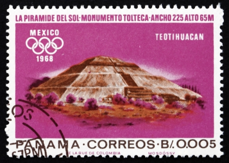 PANAMA - CIRCA 1967: a stamp printed in the Panama shows Indian Ruins at Teotihuacan, Toltec Culture, 1968 Summer Olympics, Mexico City, circa 1967