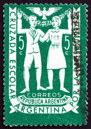 crusade: ARGENTINA - CIRCA 1947: a stamp printed in the Argentina shows School Children, Argentine School Crusade for World Peace, circa 1947
