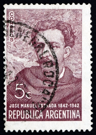 manuel: ARGENTINA - CIRCA 1942: a stamp printed in the Argentina shows Jose Manuel Estrada, Lawyer, Writer and Diplomat, circa 1942 Editorial