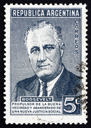 ARGENTINA - CIRCA 1946: a stamp printed in the Argentina shows Franklin Delano Roosevelt, 32nd President of the United States, circa 1946 Stock Photo - 18144718
