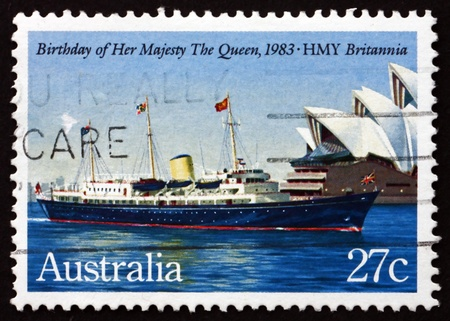britannia: AUSTRALIA - CIRCA 1983: a stamp printed in the Australia shows Her Mayesty Yacht Britannia, 57th Birthday of Queen Elizabeth II, circa 1983