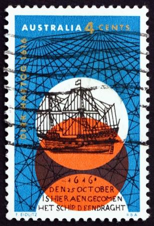 AUSTRALIA - CIRCA 1966: a stamp printed in the Australia shows Dutch Sailing Ship, 350th Anniversary of Dirk Hartogs Discovery of the Australian West Coast, circa 1966 Editorial