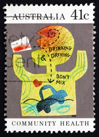 community health: AUSTRALIA - CIRCA 1990: a stamp printed in the Australia shows Dont Drink and Drive, Community Health, circa 1990