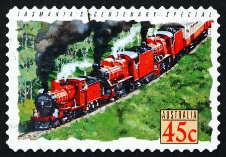 centenary: AUSTRALIA - CIRCA 1993: a stamp printed in the Australia shows Centenary Special, Tasmania, Train, circa 1993
