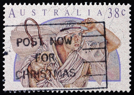 AUSTRALIA - CIRCA 1991: a stamp printed in the Australia shows Shepherd, Christmas, circa 1991 Stock Photo - 18171759