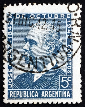 statesman: ARGENTINA - CIRCA 1942: a stamp printed in the Argentina shows Jose Clemente Paz, Statesman and Founder of the Newspaper La Prensa, Centenary of the Birth, circa 1942
