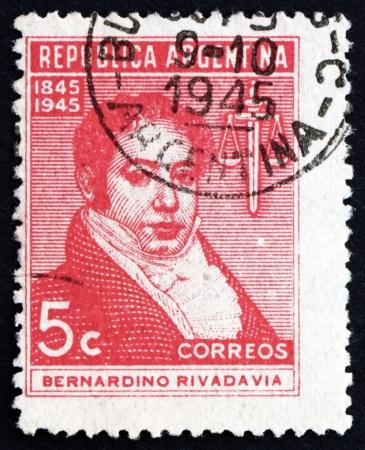 bernardino: ARGENTINA - CIRCA 1945: a stamp printed in the Argentina shows Bernardino Rivadavia, The First President of Argentina, 1826 - 1827, circa 1945