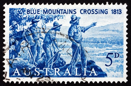 AUSTRALIA - CIRCA 1963: a stamp printed in the Australia shows Explorers Blaxland, Lawson and Wentworth Looking West from Mt. York, circa 1963