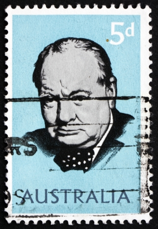 AUSTRALIA - CIRCA 1965: a stamp printed in the Australia shows Sir Winston Spencer Churchill, British statesman, circa 1965 Stock Photo - 18321612