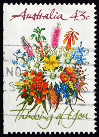 thinking of you: AUSTRALIA - CIRCA 1990: a stamp printed in the Australia shows Floral Bouquet, Thinking of You, Special Occasions, circa 1990