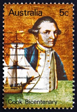 cartographer: AUSTRALIA - CIRCA 1970: a stamp printed in the Australia shows Captain James Cook and Endeavour, Explorer, Navigator and Cartographer, circa 1970