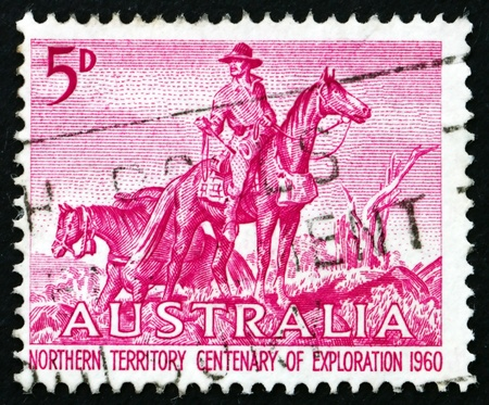 lindsay: AUSTRALIA - CIRCA 1960: a stamp printed in the Australia shows The Overlanders by Sir Daryl Lindsay, Centenary of Exploration of Australia�s Northern Territory, circa 1960