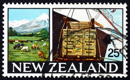 egmont: NEW ZEALAND - CIRCA 1968: a stamp printed in the New Zealand shows Dairy Farm in Taranaki, Mt. Egmont and Crated Dairy Products, circa 1968