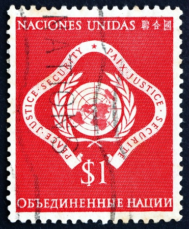 un used: UNITED NATIONS - CIRCA 1951: a stamp printed in the United Nations shows Emblem of United Nations, Peace, Justice, Security, circa 1951